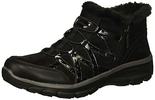 Skechers Women's Easy Going-Tribune-Double Zipper Bungee Bootie with Air-Cooled Memory Foam Ankle Boot, Black 1, 7 M US