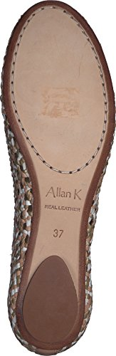 Allan leather K Ladies Leather Daiba made with Hand Wicker Opal sole footwear FFrXwq