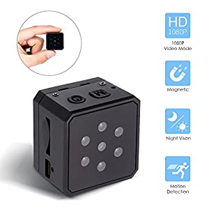 Mini Hidden Spy Camera, Hueliv 1080P Portable Wireless Nanny Cam with Night Vision & Motion Detection & Loop Recording, Body cam with Built-in 200mAh Battery for Home and Office(SD Card not Included)