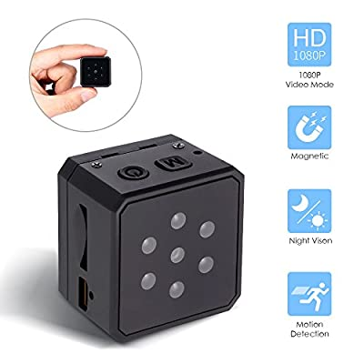 Mini Hidden Spy Camera, Hueliv 1080P Portable Wireless Nanny Cam with Night Vision & Motion Detection & Loop Recording, Body cam with Built-in 200mAh Battery for Home and Office(SD Card not Included) by HueLiv