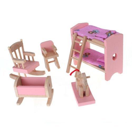 Casa De Muñecas Muebles De Madera Conjunto De Habitación