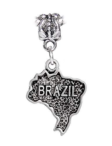 (OutletBestSelling Jewelry Making Supply Brazil Silhouette Map Word Trip Travel Dangle Charm for European Slide Bracelets )