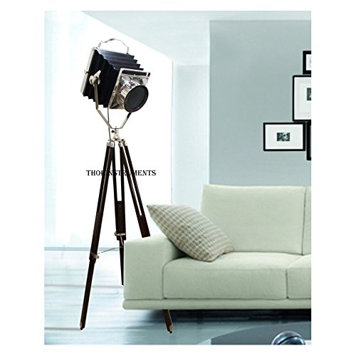Vintage Old Camera Movie Searchlight Brown Tripod Stand Hollywood Spot Light Lamp ()