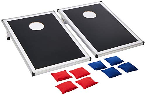 Backyard Champs 2 x 3 MDF Board with Aluminum Frame Cornhole Set (8 Bags Included) - Black