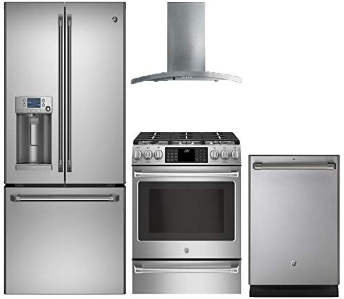 (GE Cafe 4-Piece Stainless Steel Kitchen Package CFE28TSHSS 36
