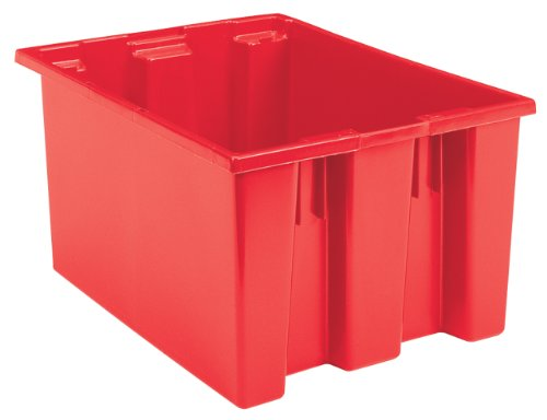 Akro-Mils 35300 Nest and Stack Plastic Storage and Distribution Tote, 29.5-Inch L by 19.5-Inch W by 15-Inch H, Red, Case of 3 by Akro-Mils