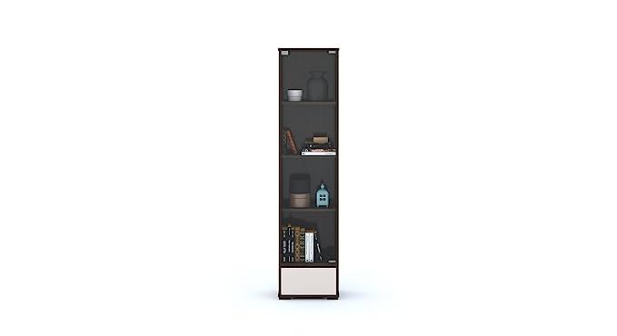 Urban Ladder Iwaki Bookshelf with Glass Door (Dark Walnut Finish, Brown)