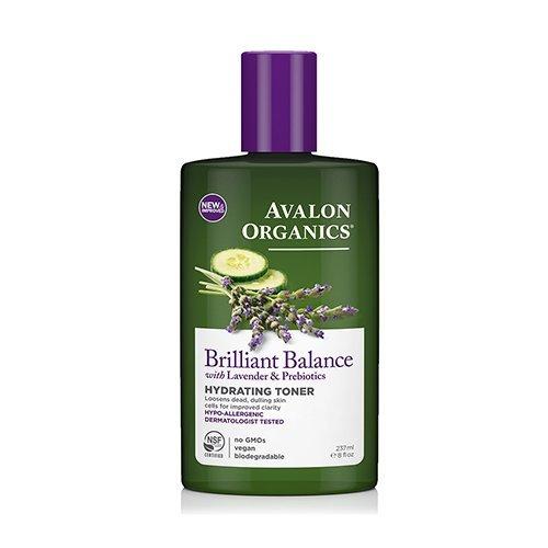 - Avalon Organics Brilliant Balance Hydrating Toner, With Lavender and Prebiotics, 8 Oz