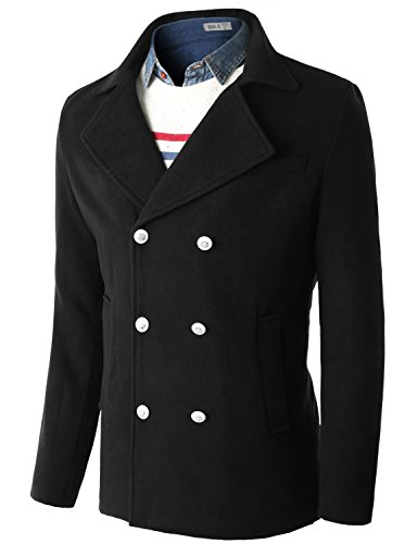 Doublju Mens White Button Wool Blended Double Breasted Pea Coat