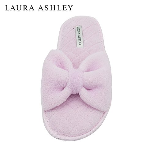 Price comparison product image Laura Ashley Ladies Open Toe Spa Slippers with Bow and Memory Foam Insole in Gum Drop,  Size XL