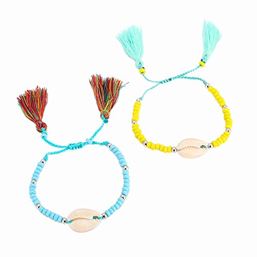 Two-piece Handmade Wave Strand Bracelet Set,Hand-woven Boho Rice Beads Shell String,Waterproof Color Tassel Braided Rope