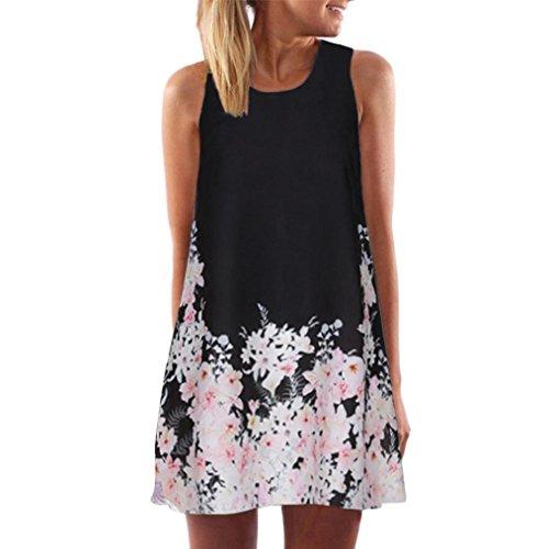 Shybuy Tank Dress, Women Summer Vintage Boho Sleeveless Beach Printed Short Mini Dress (Black, XXXL) by Shybuy