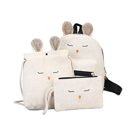 - Fitfulvan Linen Bag,Student Backpack Crossbody Bags Cute Wallets Travel 3-Piece Set,Color Matching Package For Girls