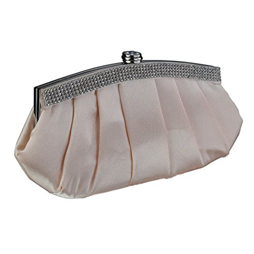 Satin Clutch Bag With Diamante Crystal Trim & Top Silver Clasp - Perfect For Wedding Party School Prom Nude