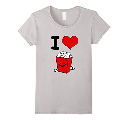 Womens I Love Popcorn (black) T-Shirt Large Silver (Popcorn Print)