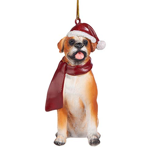 Dog Holiday Ornaments - Design Toscano Christmas Ornaments - Xmas Boxer Holiday Dog Ornaments