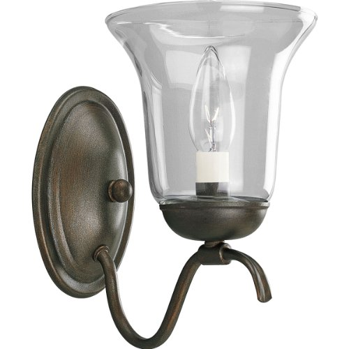 (Progress Lighting P2916-88 1-Light Wall Bracket with Clear Hurricane Glass Shade, Heirloom)