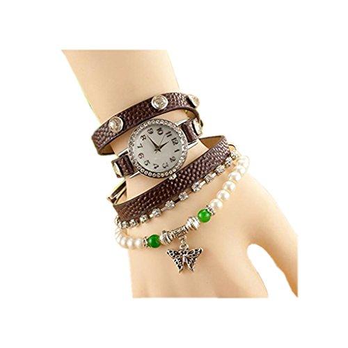 All Pro Leather Football (Dealzip Inc Brown Fashion Women Ladies Diamond Quartz Butterfly Pendant Vintage Wrist Leather Bracelet Watch)