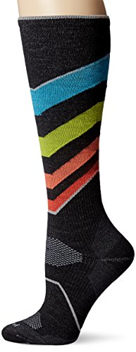 Sockwell Women's Ski Ultra-Light Compression Socks, Black/Multicolor, Small/Medium (Womens Ultralight Trail Sock)