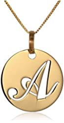 Italian 14k Yellow Gold Script Initial Disc Pendant Necklace, 18""