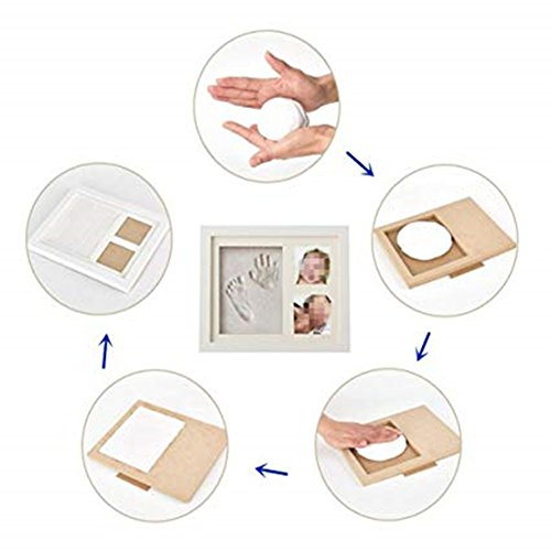Baby Photo Frame with Handprint & Footprint Kit, Best Gifts for Newborn Girls and Boys Shower Registry Keepsakes(White) by Hathdia (Image #5)