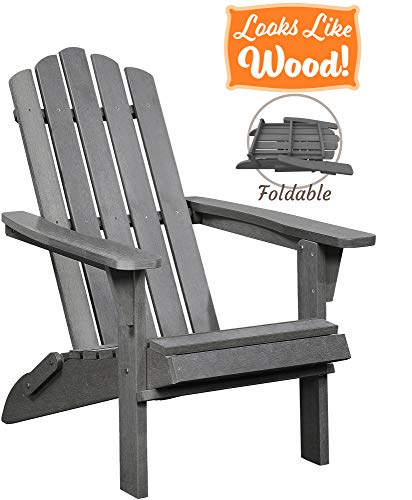 PolyTEAK Classic Folding Poly Adirondack Chair, Stone Gray | Adult-Size, Weather Resistant, Made from Special Formulated Poly Lumber Plastic (Plastic Gray Adirondack Chairs)