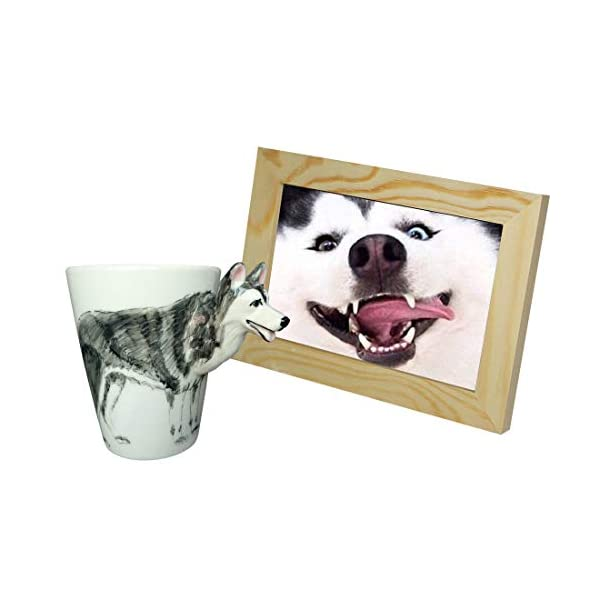 WEY&FLY 3D Coffee Dog Mug, Animals Personalized Tea Cup, Creative Hand Painted 3D Dog Mug, Gift for Lovers Kids Friends (Siberian Husky) 5