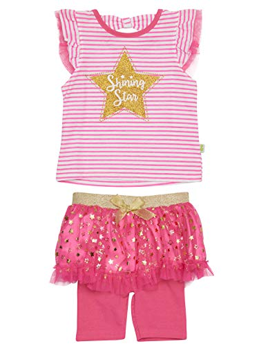 Duck Duck Goose Infant Girls' 2-Piece Tutu Bermuda Short Set with Adorable Tops and Bow Detail, Shining Star, Size 24 Months'