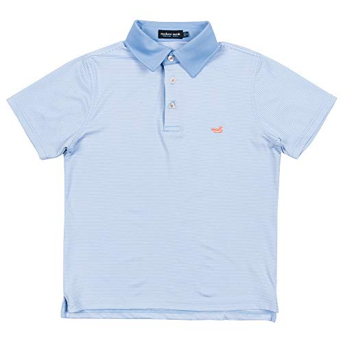 Southern Marsh Youth Bermuda Performance Polo Shirt-Hawthorne-Lt Blue/White-ys