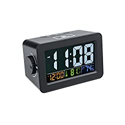 Alarm Clock, Lomanda Multifunction Easiest Set Digital Clocks Thermometer Hygrometer Night Light with USB Port for iPhone/iPad/iPod/Android Phone and Tablets(Black)