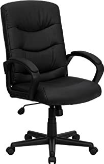Flash Furniture Mid Back Black Leather Swivel Task Chair with ArmsAmazon com  Flash Furniture High Back Black Leather Executive  . Flash Furniture Mid Back Office Chair Black Leather. Home Design Ideas