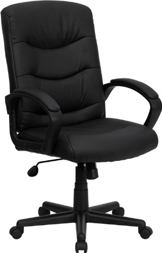 Flash Furniture Mid-Back Black Leather Swivel Task Chair with Arms by Flash Furniture