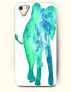 Phone Case For iPhone 5 5S Green Elephant - Hard Back Plastic Case / Oil Painting / SevenArc Authentic