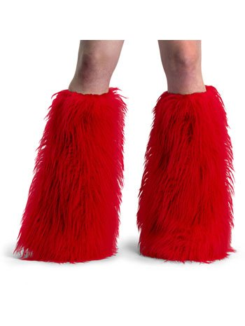 Furry Shag Boot Covers - Red - One size fits most]()