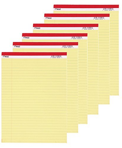 Mead Legal Pad, 8-1/2 x 11-3/4 Inches, Perforated, Canary, Legal, 50 Sheets per Pad, 6 Pack ()