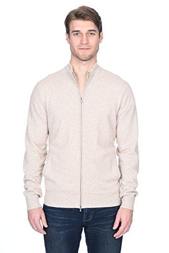 State Fusio Men's Cashmere Wool Full-Zip Mock Neck Cardigan Sweater Premium Quality Beige