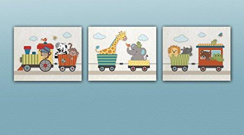 Jungle Animal Choo Choo Express. Set of Three Nursery Art Prints (8