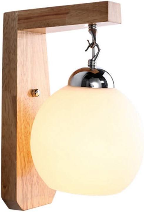 Popertr Aplique Moderno Pequeño LED Lámpara de madera maciza LED Lámpara esférica Dormitorio Lámpara de cabecera Salón Balcón Escalera Restaurante E27 Lámpara de horno de leña 60W