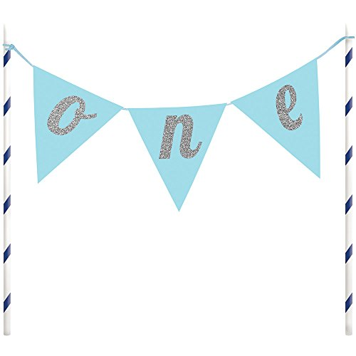 Blue Banner One Cake Topper (Boy First Birthday Cake Topper)