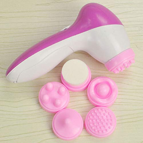 Deep Clean 5 in 1 Electric Facial Cleaner Skin Care Brush Massager Scrubber White&Rose Red