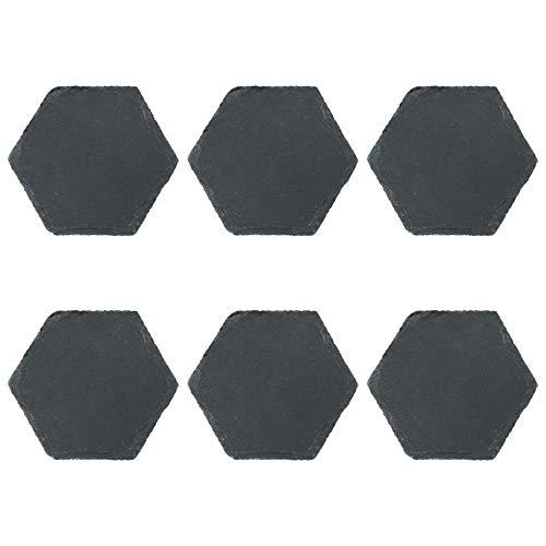 (Argon Tableware Natural Slate Hexagon Drinks Coasters Mat Set - Pack of 6)
