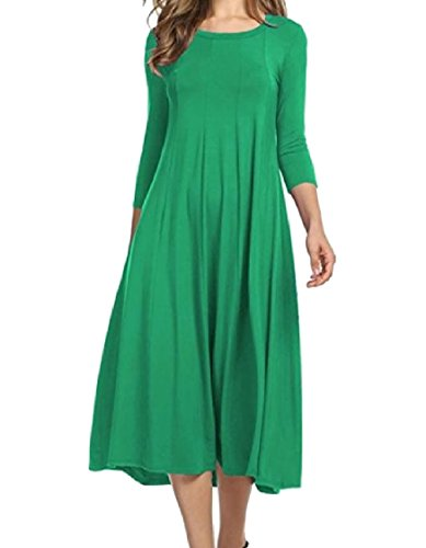 Maxi Dress Green 3 4 Long Women Neck Sleeve Cotton Colored Solid Coolred O 7PSUBRq
