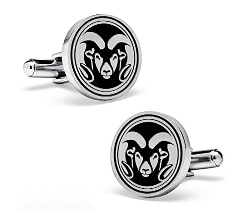 Colorado State Rams Sterling Silver Round Top Cufflinks by College Jewelry