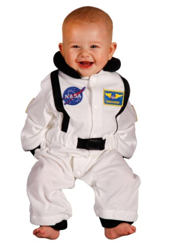 Baby Superman Costume 12 18 Months (Aeromax Jr. Astronaut Suit with NASA patches and diaper snaps,WHITE, Size 6/12)