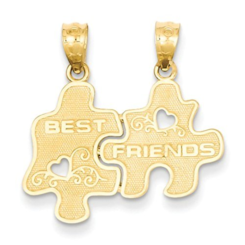 14k Yellow Gold Best Friends Puzzle Pieces Break Apart With Hearts Charm - Break Apart Heart Charm
