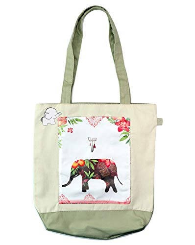 Elephant Canvas Shopping Tote Bag - Eco-Friendy Foldable Resuable Grocery Tote with Front Pocket Valentines Day Gifts Galentines Day Gift (Elephant Shopping Bag)