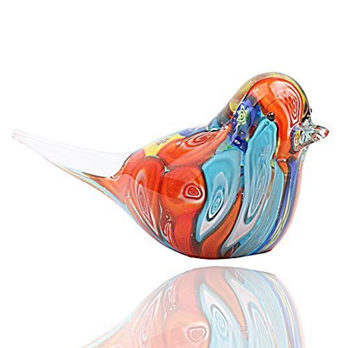 Hophen Colorful Art Glass Bird Figurine Paper Wight Handmade Home Ornament Mother`s Day Gift (Blue)