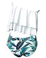 Tempt Me Women Two Piece Off Shoulder Ruffled Flounce Crop Bikini Top With Print Cut Out High Waist Bottoms