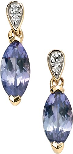 - Elements Gold Womens Kaleidoscope 9ct Gold Tanzanite and Diamond Marquise Earrings - Purple/Gold