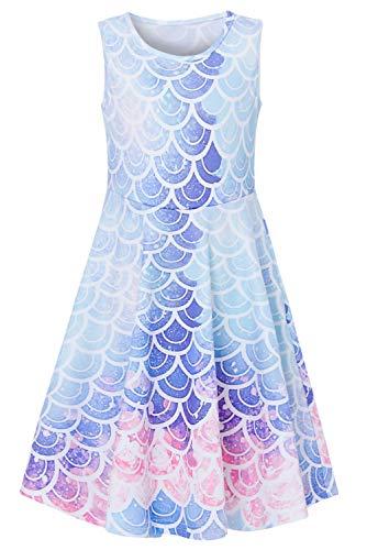 Girls Sleeveless Dress 3D Print Cute Mermaid Fish Scale Pattern Light Blue Summer Dress Casual Swing Theme Birthday Party Sundress Toddler Kids Twirly Skirt, Mermaid, -